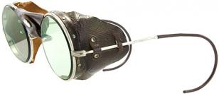 Vintage American Optical (early 20th century) driving goggles with leather sides