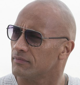 Dwayne Johnson wears metal or titanium sunglasses with black plastic rims and arms in Season 2 of Ballers.