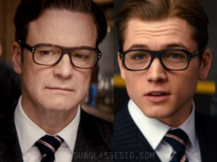 Colin Firth (left) and Taron Egerton (right) wear Cutler and Gross eyeglasses in Kingsman: The Secret Service