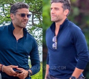 Oscar Isaacs wears Etnia Barcelona Kitsilano sunglasses in the movie Triple Frontier (pictured here on the set of the film)