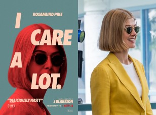 Rosamund Pike wears Garrett Light Hampton sunglasses in and on the movie poster of I Care A Lot.