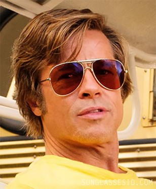 Brad Pitt wears vintage gold aviator sunglasses in Once Upon A Time In Hollywood (2019).