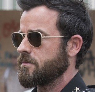 Justin Theroux wears gold Oliver Peoples The Row Executive Suite sunglasses in Season 3 of The Leftovers.