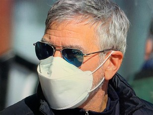 George Clooney wears Randolph Engineering Aviator sunglasses on the set of his new movie The Tender Bar.