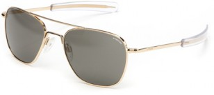 Modern Randolph Engineering Aviator sunglasses with gold frame and bayonet temples