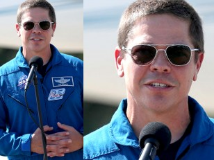 Bob Behnken wears Randolph Engineering Aviator sunglasses during press conferences about the Crew Dragon Demo-2 launch in May 2020.
