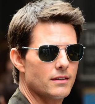 Tom Cruise on the set with Randolph Engineering RE Aviator sunglasses, which can