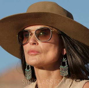Demi Moore wears a pair of Randolph Engineering Fusion Aviator sunglasses in Corporate Animals.