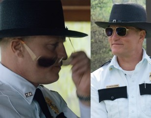 Woody Harrelson wears Randolph Engineering Intruder sunglasses in the movie Three Billboards Outside Ebbing, Missouri