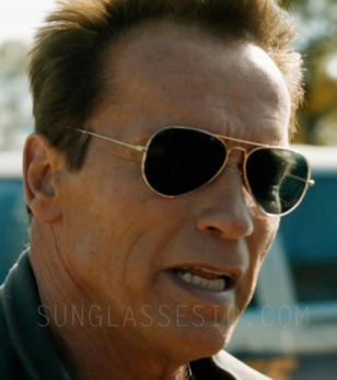 Arnold Schwarzenegger wears Ray-Ban 3025 Aviator sunglasses in The Last Stand