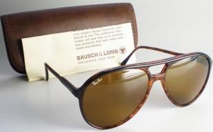 Vintage Ray-Ban Aviator sunglasses with light tortoise frame