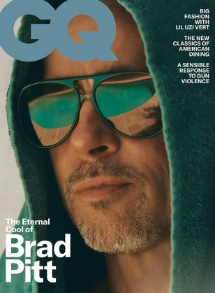 Brad Pitt wears Vintage Ray-Ban Aviator sunglasses on the GQ Cover of September October 2019.
