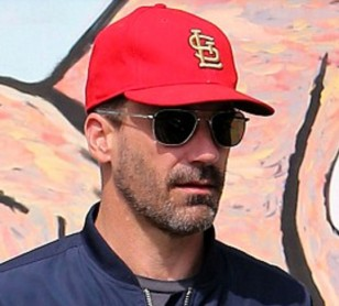 Jon Hamm wearing RE Aviator sunglasses while shopping in May 2016