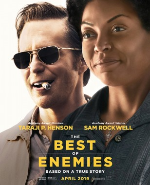 Sam Rockwell wearing the vintage RE Aviator sunglasses on the movie poster for The Best of Enemies.