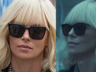 Charlize Theron black Saint Laurent sunglasses in Atomic Blonde.