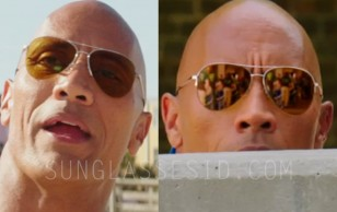 "Dwayne Johnson wears a pair of Sama Syd ""Bay Elite"" gold aviator sunglasses in the Baywatch movie."