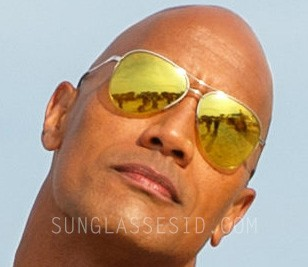 "Dwayne Johnson's Sama Syd ""Bay Elite"" gold aviator sunglasses were created especially for him in the Baywatch movie."