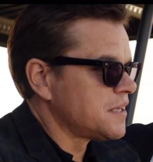 Matt Damon wears a pair of Spectaculars Benjamin sunglasses in Ford v. Ferrari.