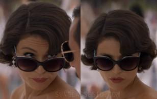 Gemma Arterton wears Tiffany & Co TF4134B cat eye sunglasses in Murder Mystery (2019).