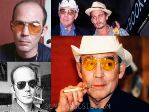 Aothor Hunter S. Thompson, who wrote the book Fear and Loathing in Las Vegas, wearing the same type glasses