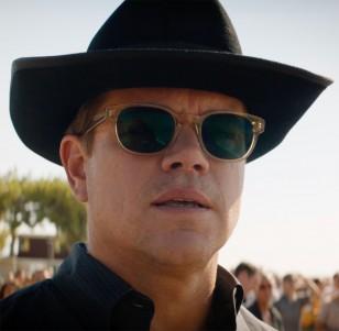 The sunglasses worn by actor Matt Damon in Ford v. Ferrari are Entourage of 7 Beacon sunglasses.