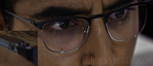 The eyeglasses worn by Dev Patel have a V logo on the side of the temples