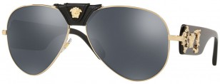 Versace Medusa VE2150Q C62 Leather-Wrap Aviator Sunglasses