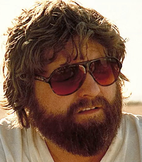 Zach Galifianakis wearing BluBlocker sunglasses on a publicity still of the movi