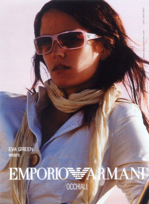 66f0f37f97e Eva Green wearing Emporio Armani 9158 sunglasses in a 2004 2005 Emporio  Armani Dreamers ad