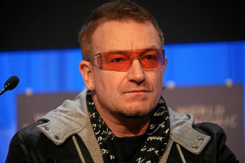 c45182f2d74 Bono wearing Emporio Armani 9285 sunglasses at World Economic Forum meeting  2008