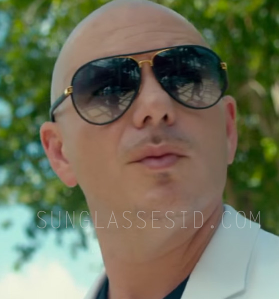 6b9a5072a8 Pitbull with the gold frame   black leather Gucci 2887 sunglasses in the music  video Fun