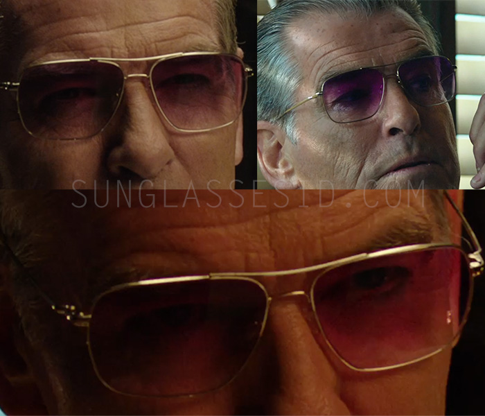 It's hard to see if the Oliver Peoples Clifton frame worn by Pierce Brosnan in urge is gold or silver color