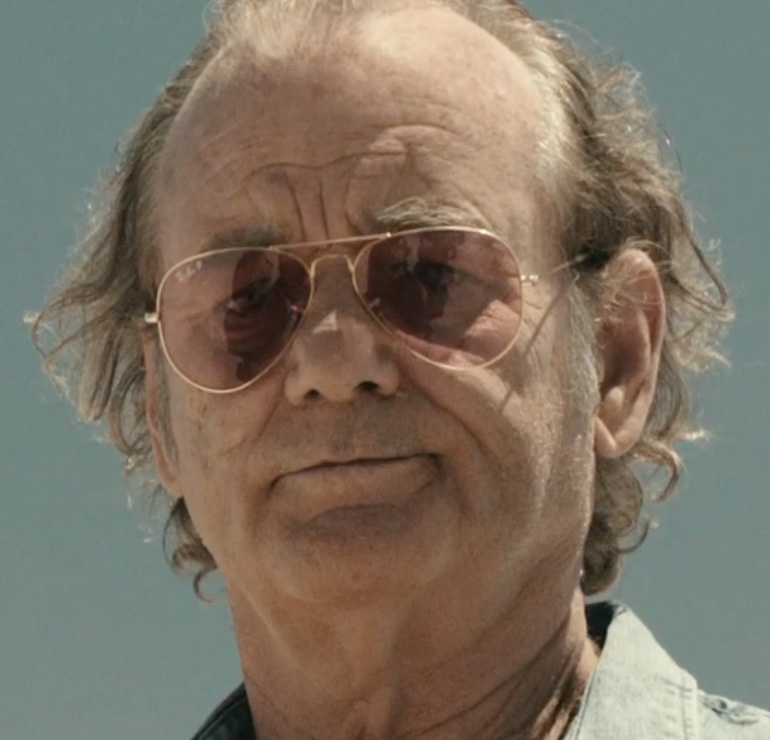 pink ray ban aviators 5y7a  Bill Murray wears Ray-Ban 3025 Large Aviator polarized sunglasses with gold  frame and pink