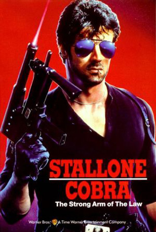 Sylvester Stallone wearing Ray-Ban 3030 Outdoorsman sunglasses on the Cobra movi