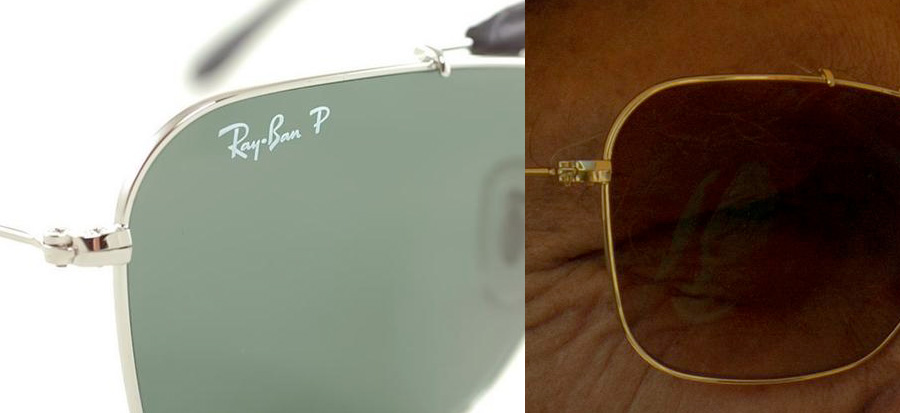 The shape of the hinge and the frame of the Ray-Ban (left) and the movie sunglasses (right) look exactly the same (click to enlarge)