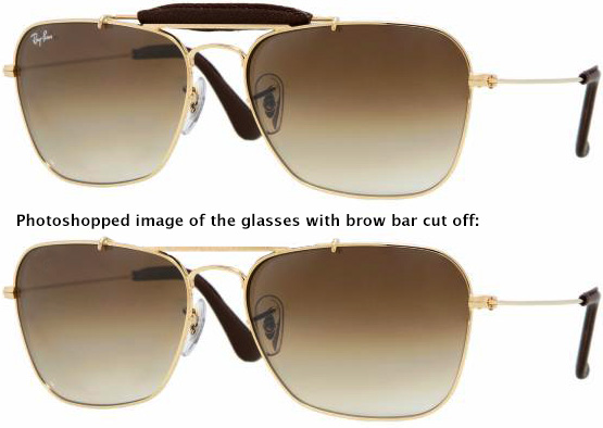 Ray-Ban Caravan Craft RB3415-Q, with below a photoshopped image to show how the glasses are exactly the same as in the film when the bro bar would be cut off.