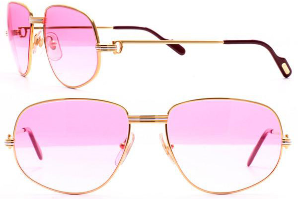 f04bb595671 Solid gold Cartier Romance Louis Cartier sunglasses with pink lenses