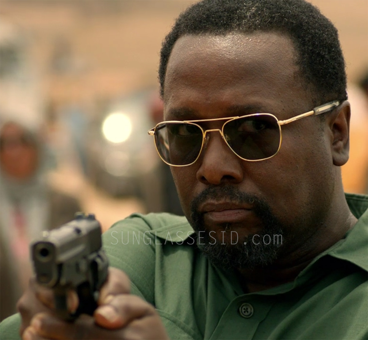Wendell Pierce wears RE Aviator sunglasses in episode 6 of the Amazon Prime series Jack Ryan.Wendell Pierce wears RE Aviator sunglasses in episode 6, where they look gold.