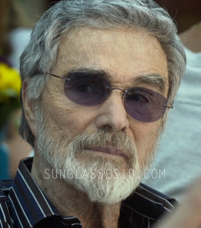 Burt Reynolds wears a pair of light weight rimless sunglasses with flexible hingeless arms in The Last Movie Star.